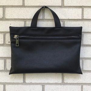 Zara Man black pebble grain leather portfolio tote